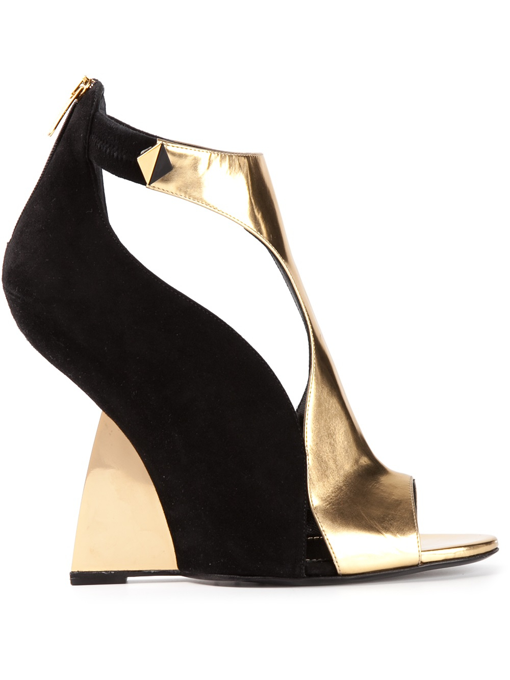 2c9c0551c2c Sergio Rossi Metallic Sculpted Wedge Sandals