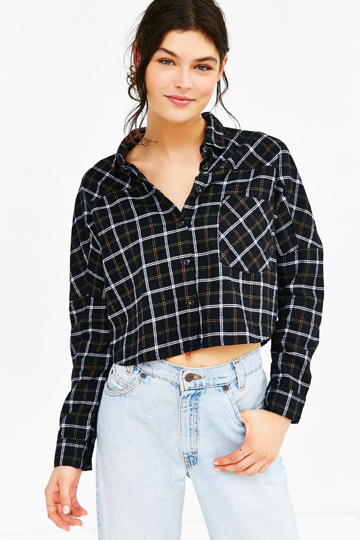 Bdg Olly Checked Print Flannel Shirt In Black Lyst