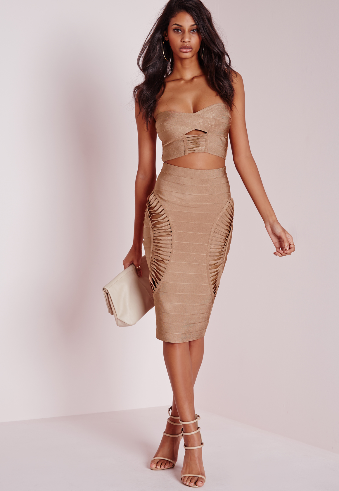 Missguided Bandage Cut Out Side Midi Skirt Camel in Natural | Lyst