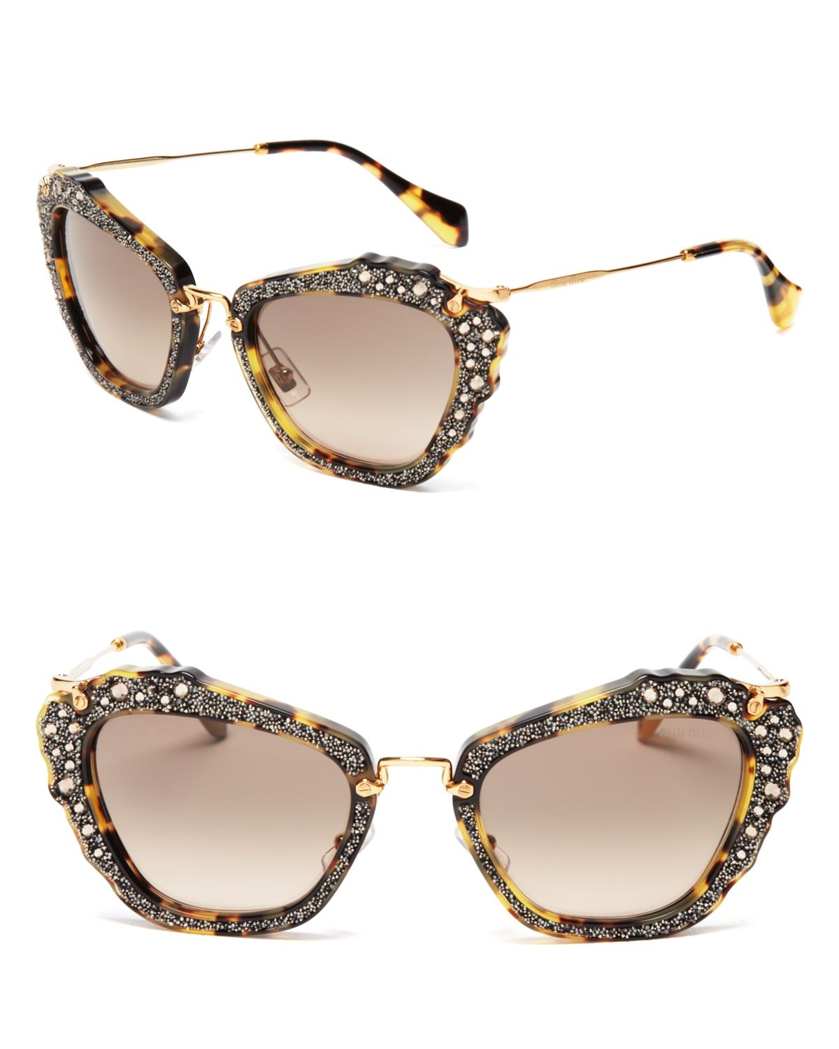 fbcffb0c3c86 Miu Miu Embellished Cat Eye Sunglasses in Gray - Lyst