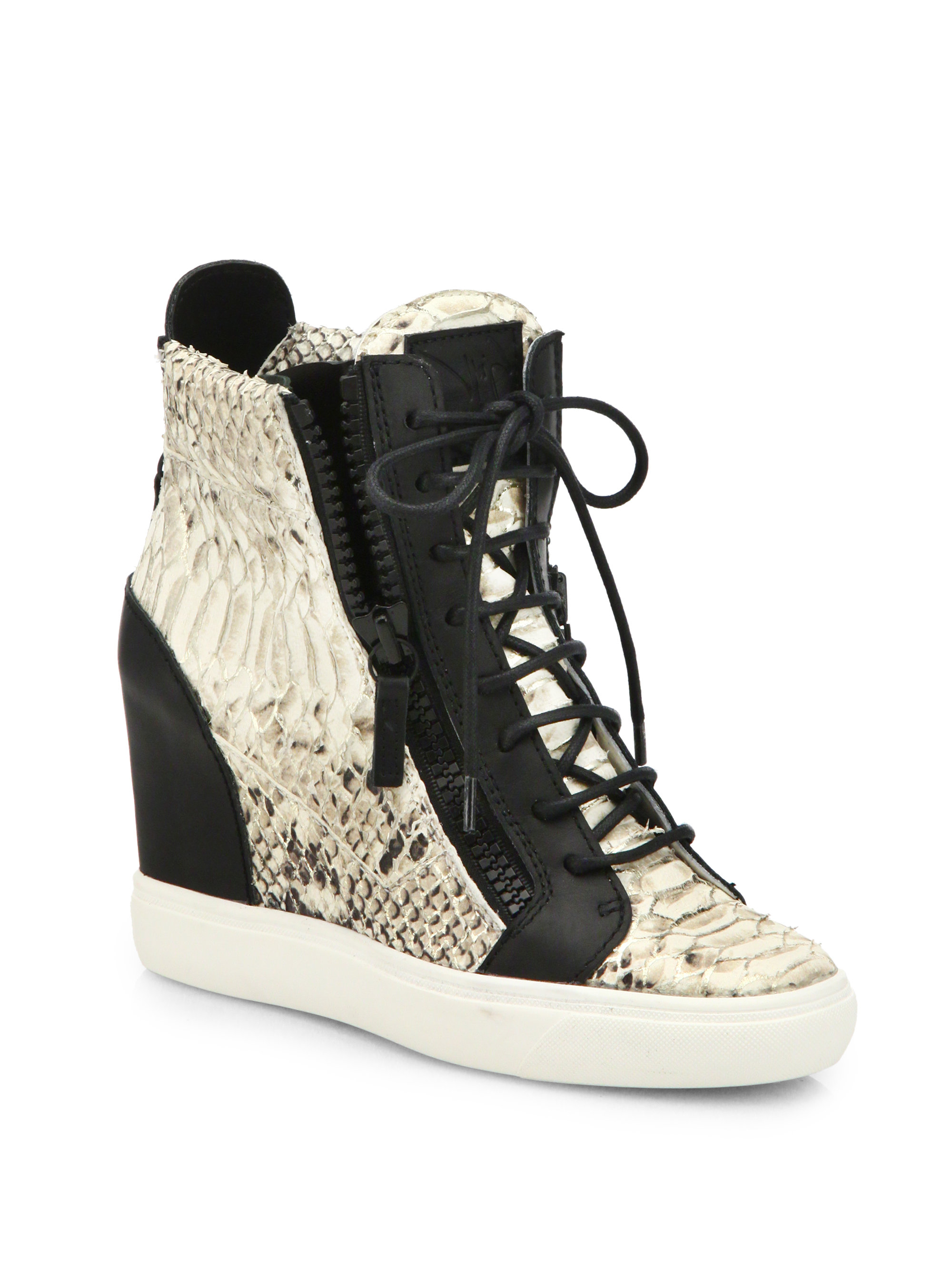 lyst giuseppe zanotti python leather wedge sneakers in black rh lyst com