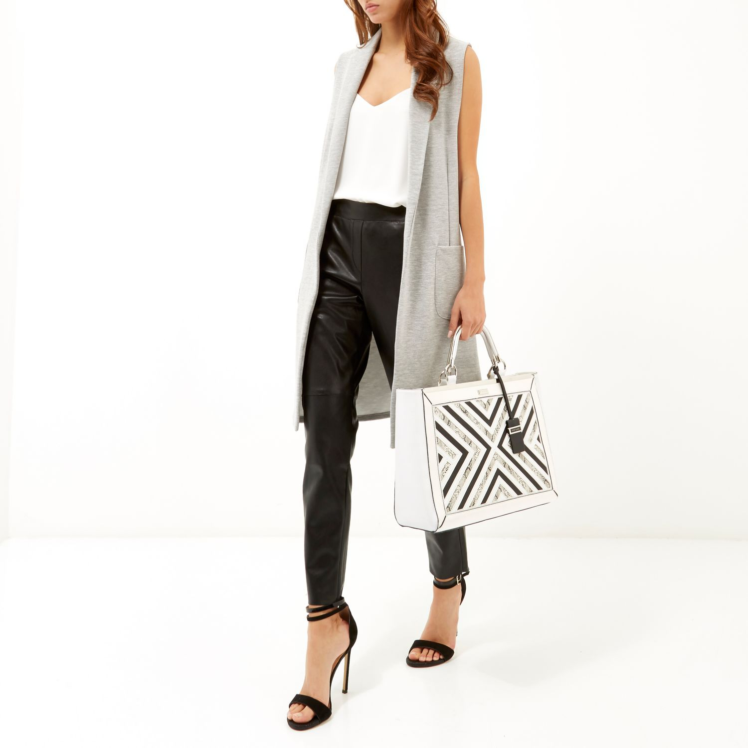 River Island White Smart Detail Tote Bag