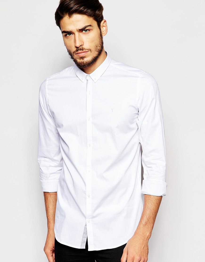 Vito shirt with button down collar in slim fit in white for Slim fit white button down shirt