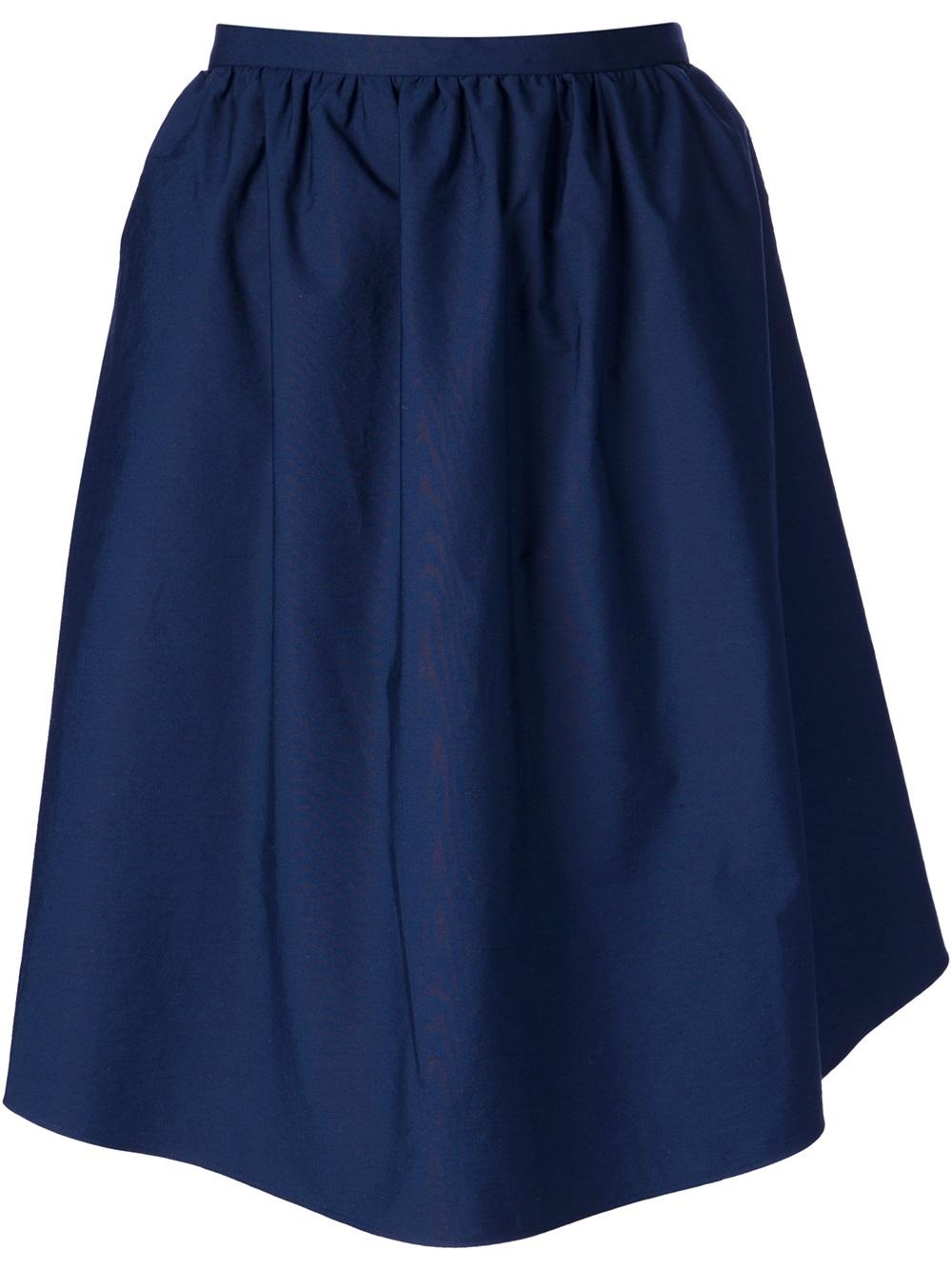 carven voluminous a line skirt in blue lyst