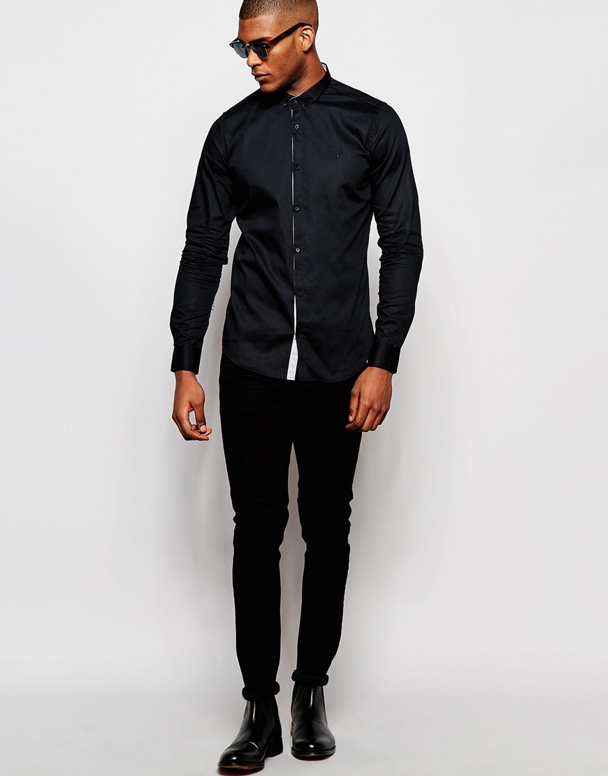 Lyst - Vito Shirt With Button Down Collar In Slim Fit in Black for Men