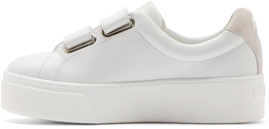 white platform velcro sneakers