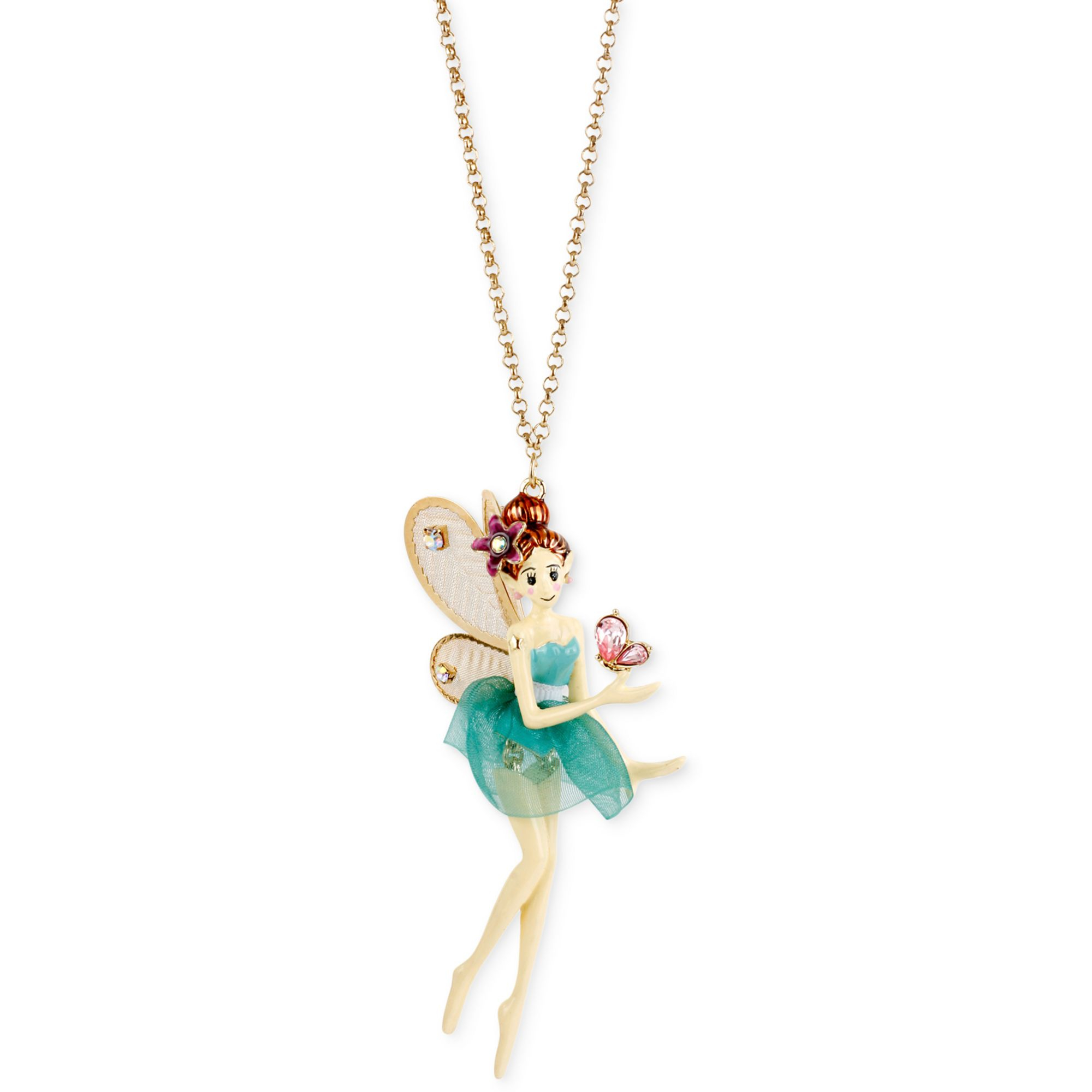 Betsey johnson antique goldtone fairy pendant necklace in metallic gallery aloadofball Image collections