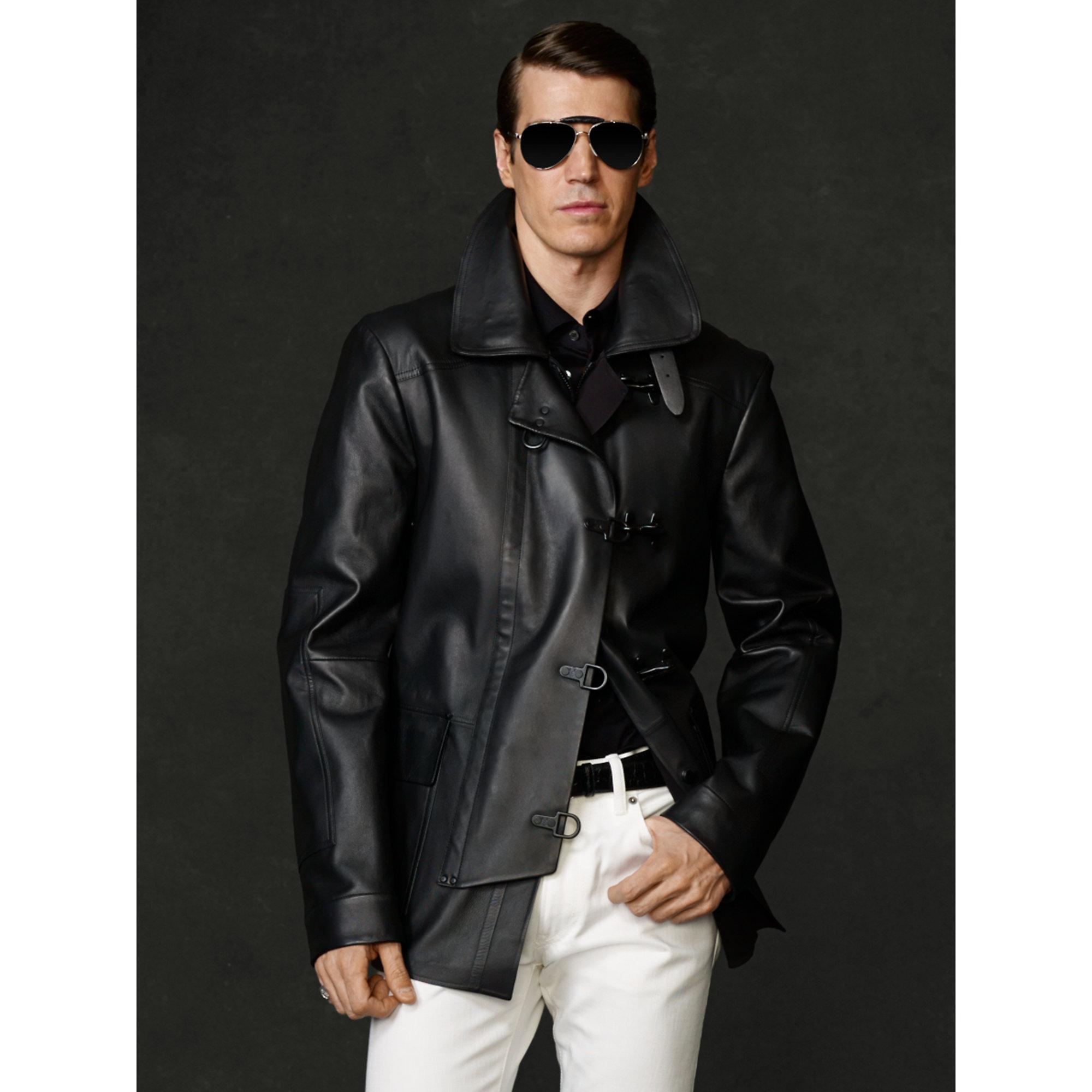 Ralph Lauren Purple Label Leather Rescue Jacket In Black