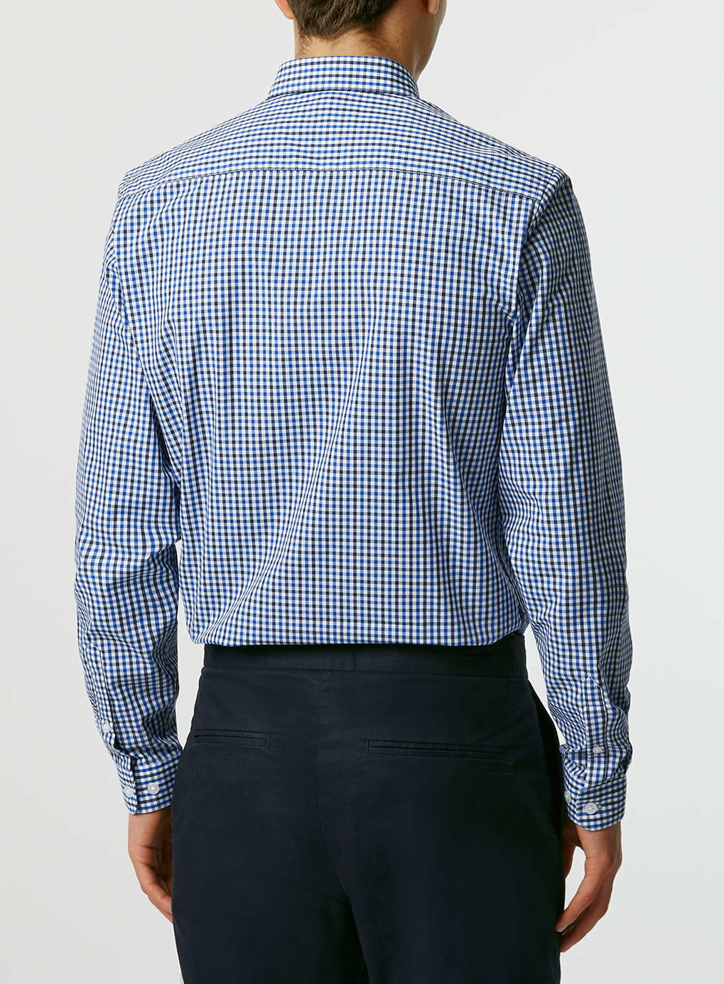 Topman Navy White Gingham Button Down Long Sleeve Smart