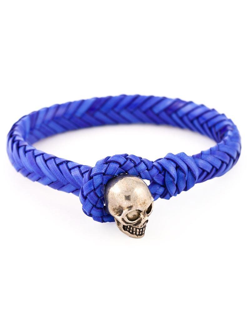 Alexander Mcqueen Woven Skull Bracelet In Blue For Men Lyst