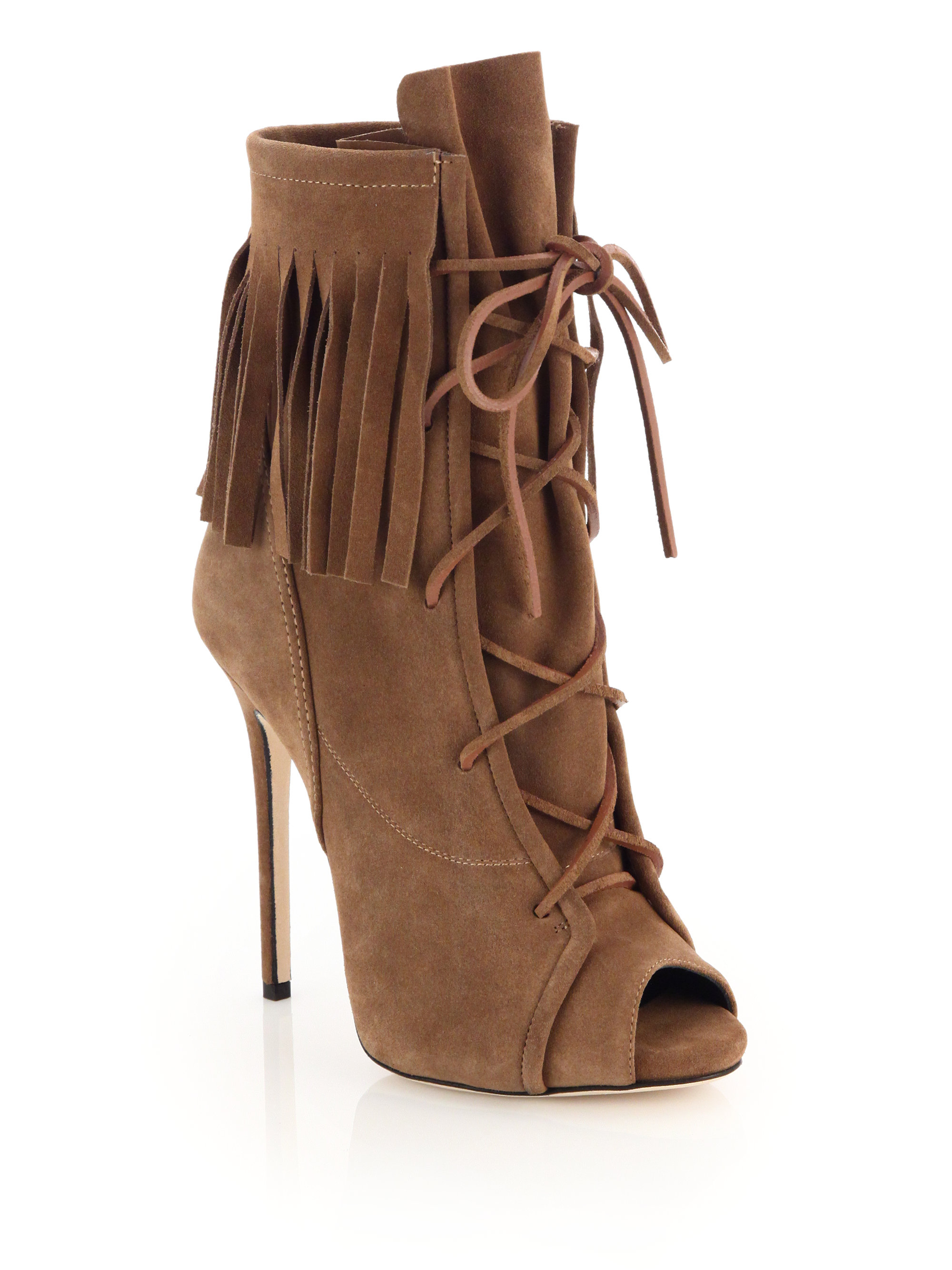 Giuseppe zanotti Fringed Suede Lace-up Peep-toe Booties in Brown ...