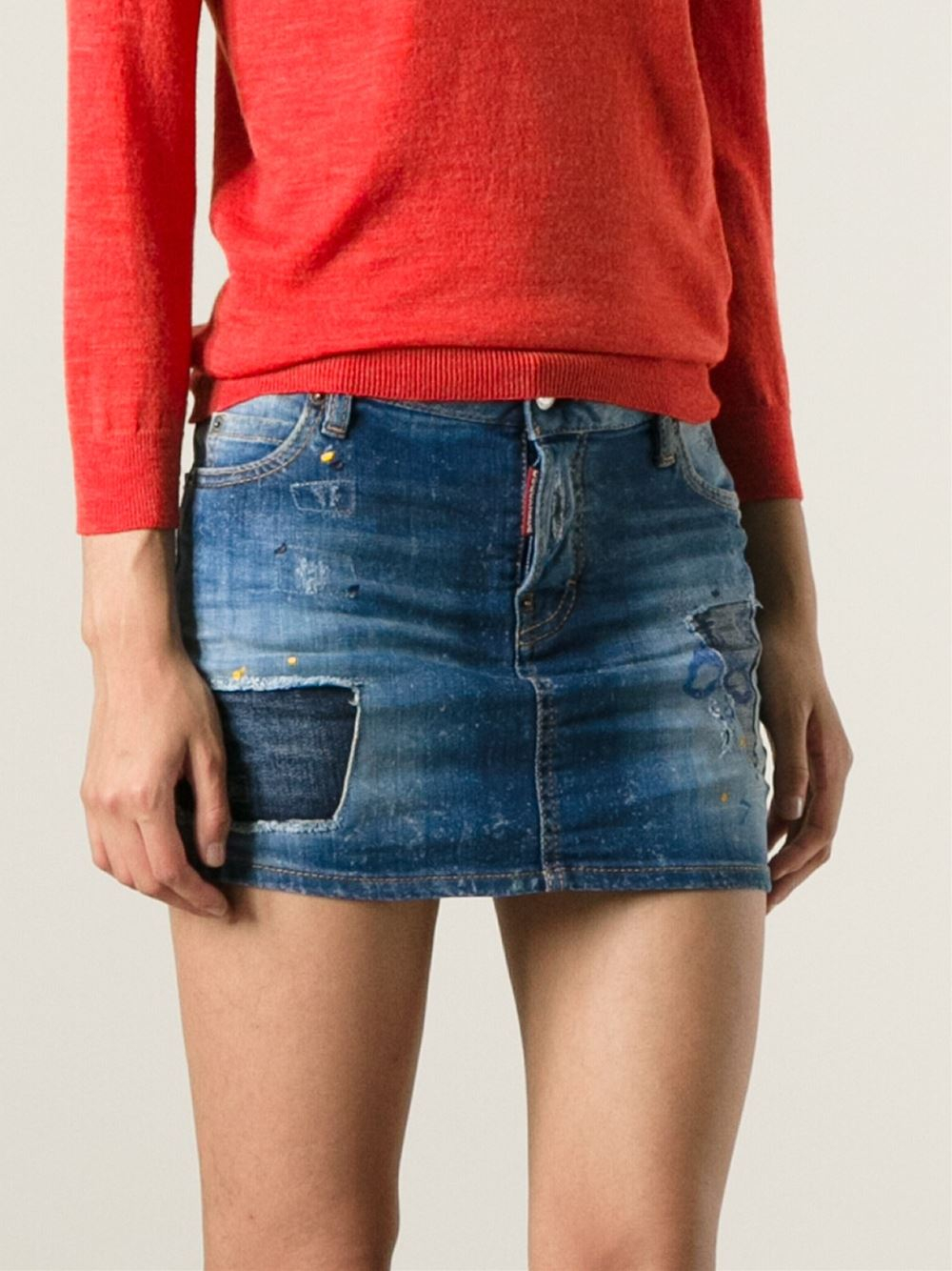 dsquared 178 distressed denim mini skirt in blue lyst