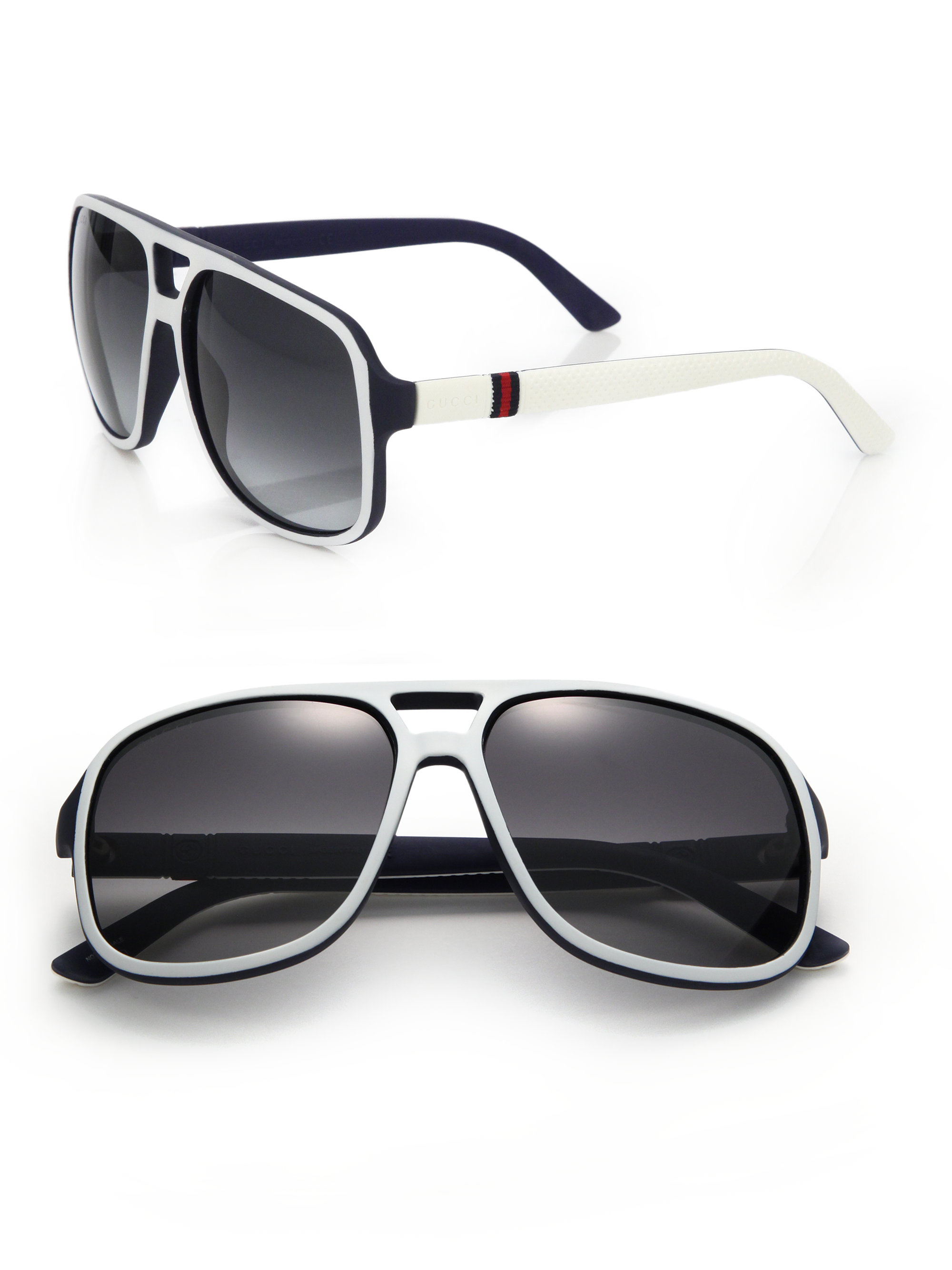 52102eccb4 Lyst - Gucci 1115 s 59mm Mirror Aviator Sunglasses in White