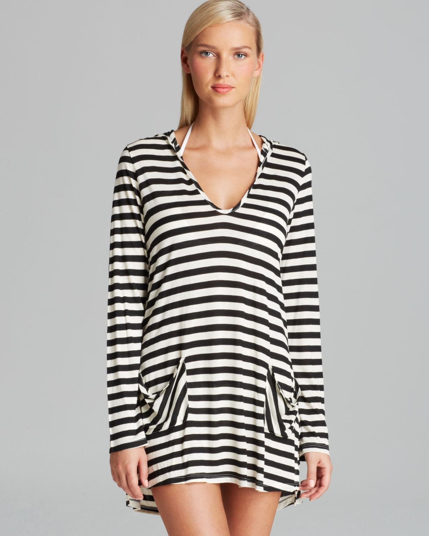 028c80a4341 Lyst - Ella Moss Cabana Stripe Hoodie Swim Cover Up in Black