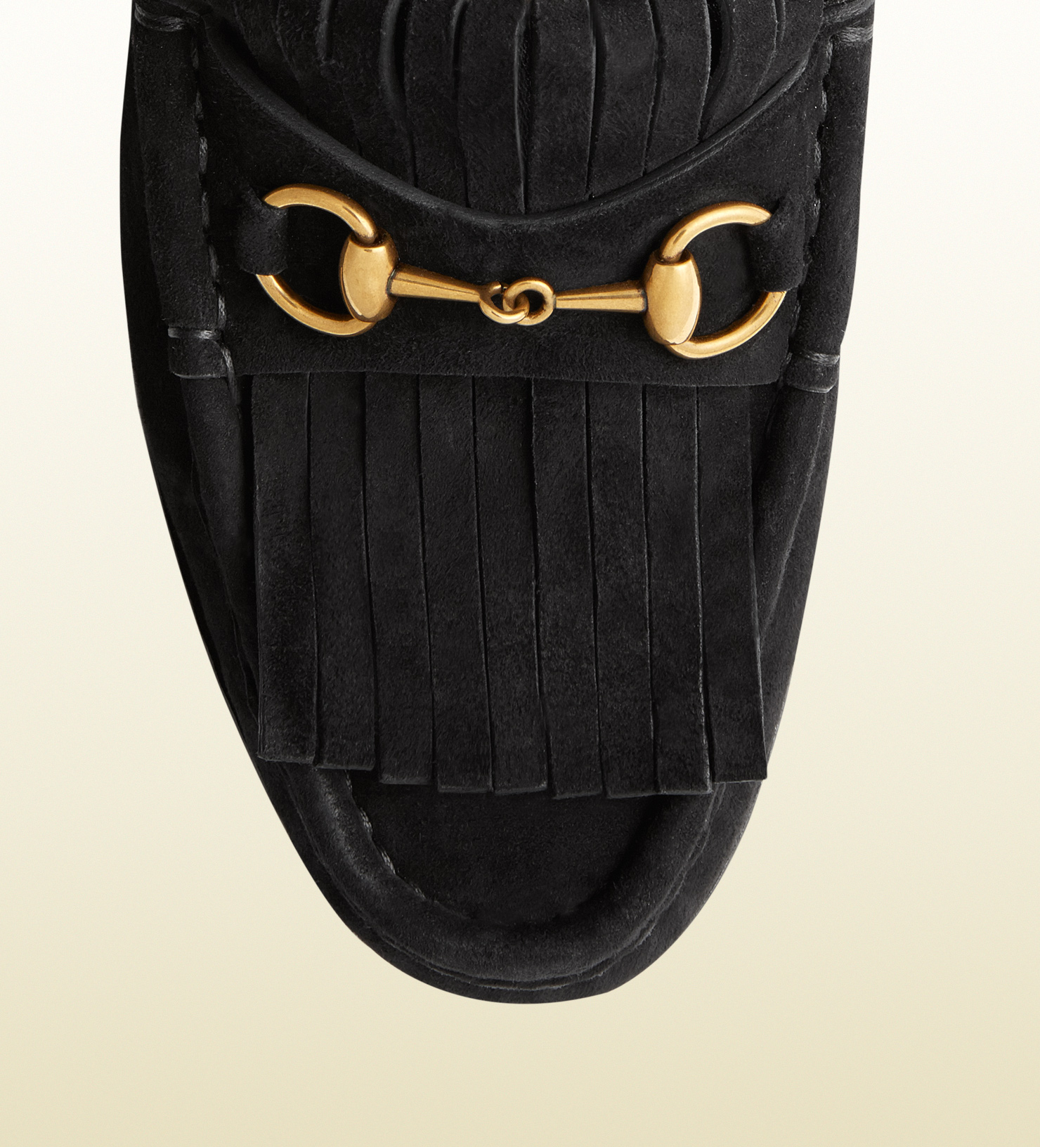 Lyst - Gucci Horsebit Loafer In Fringed Suede For Women in Black 993ee68a1