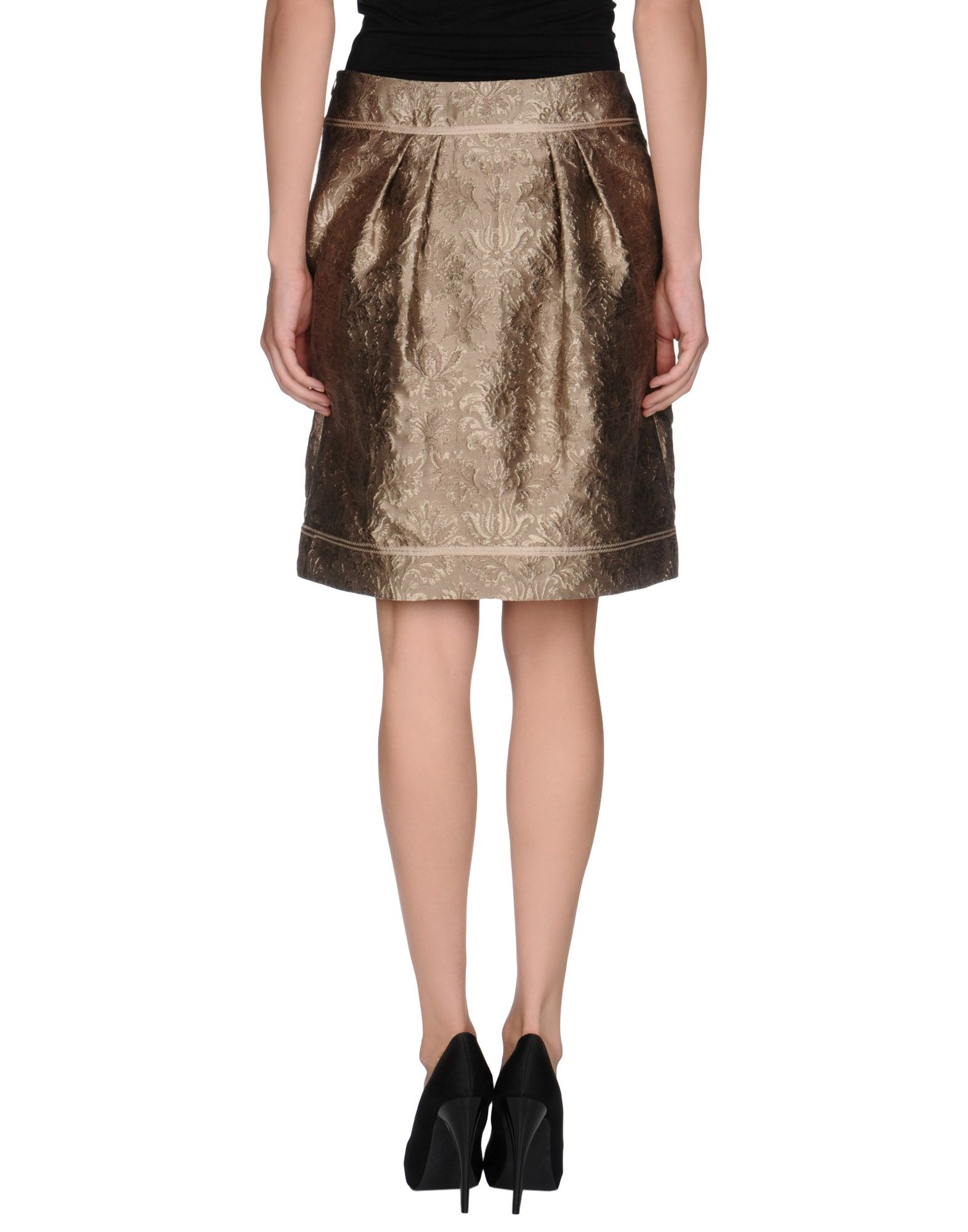 alberta ferretti khaki knee length skirt lyst