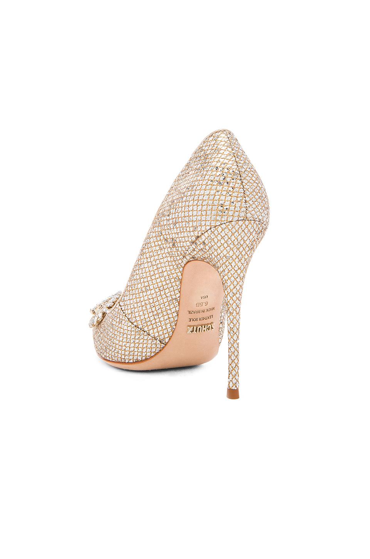 Schutz Leather Rhinestone Embellished Heels In Gold