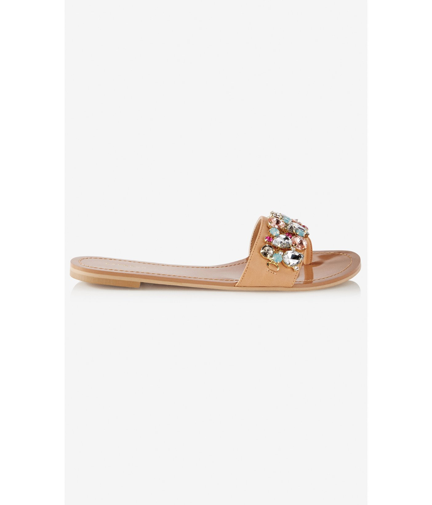 8abd7f8dd4d Lyst - Express Jeweled Wide Strap Thong Sandal in Natural