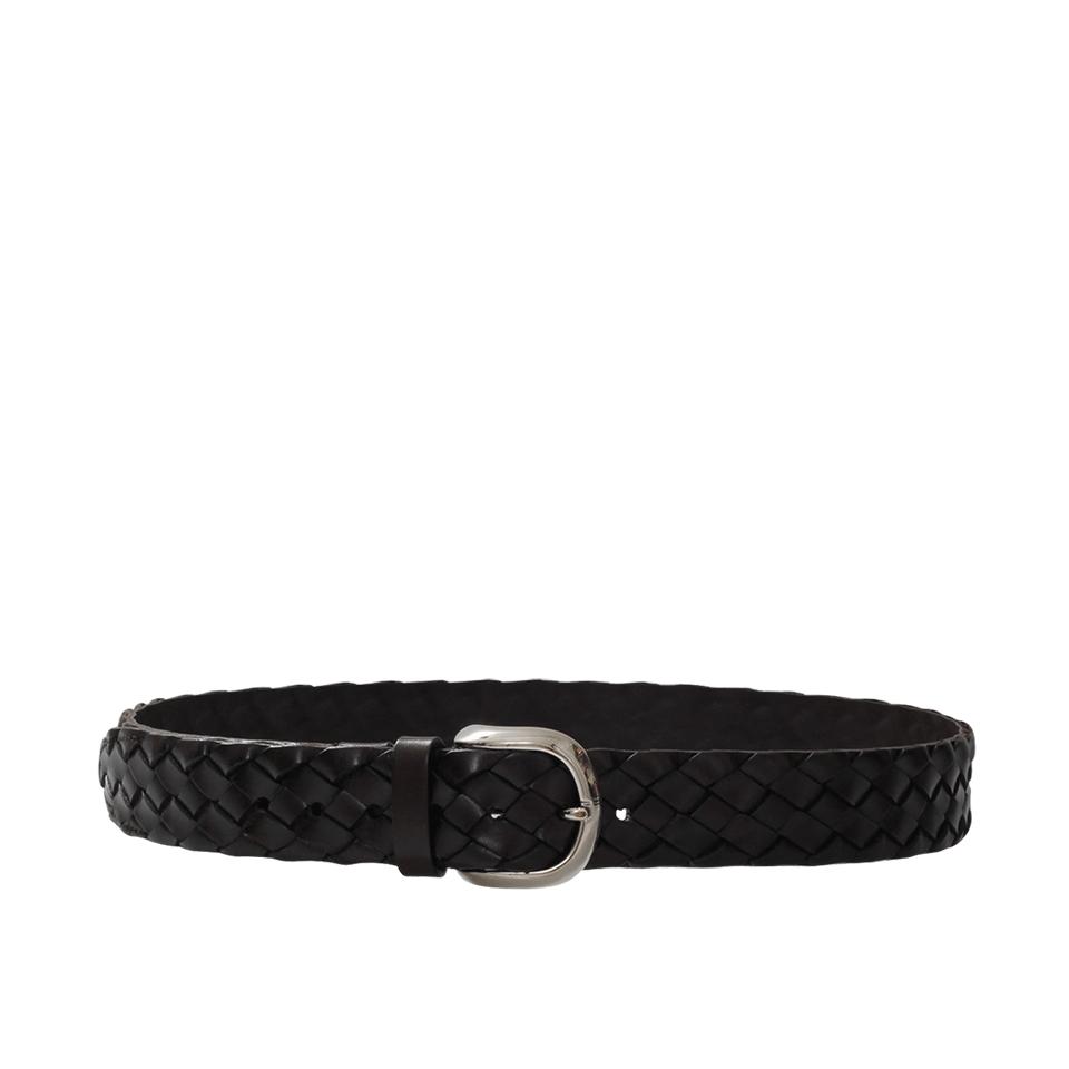 brunello cucinelli wide braided leather belt in black lyst