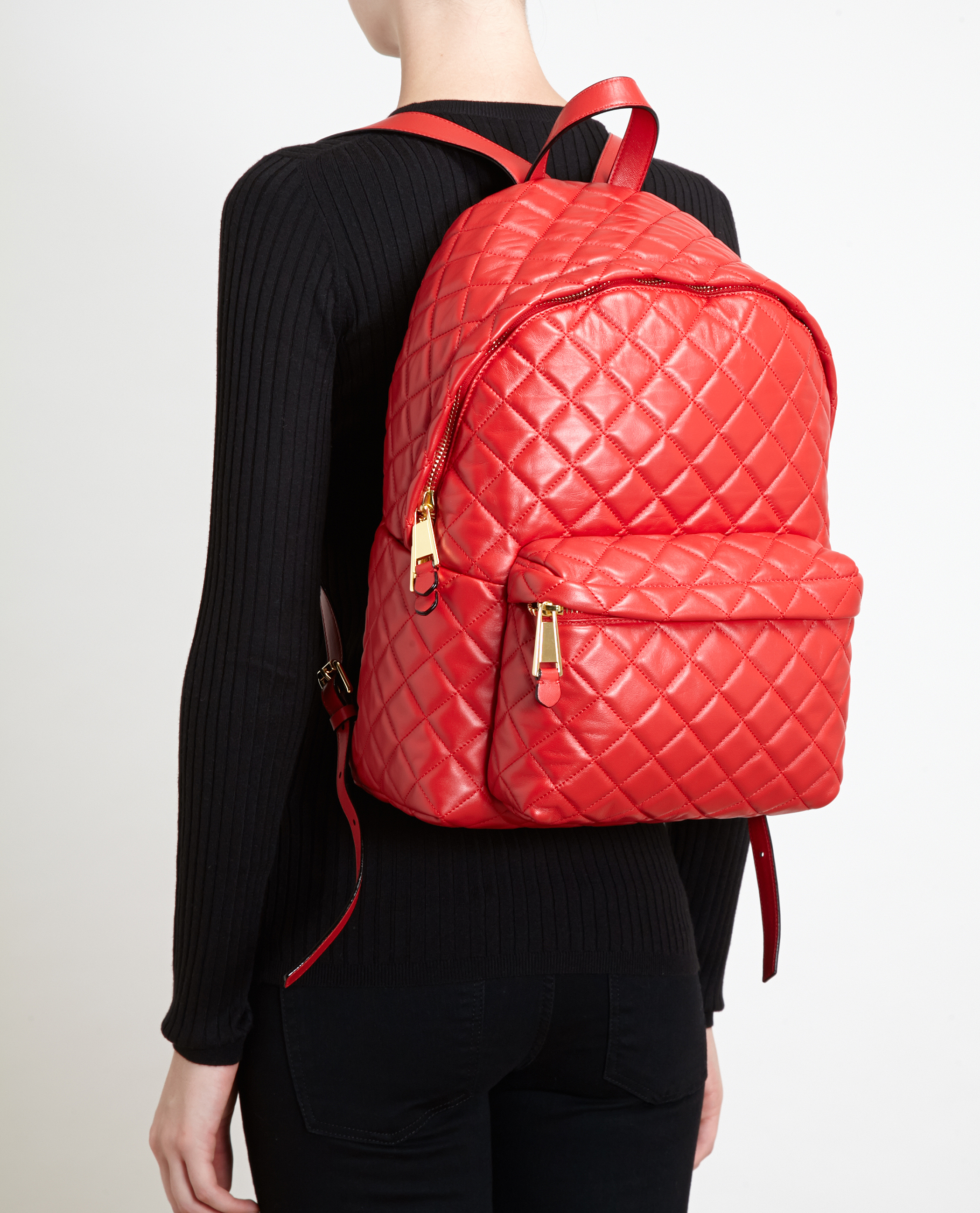 Moschino Quilted Leather Backpack in Red | Lyst : quilted leather rucksack - Adamdwight.com