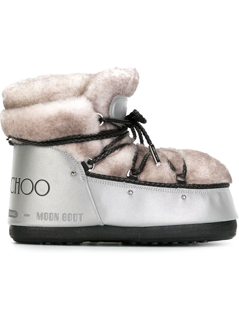lyst jimmy choo shearling paneled snow boots in natural rh lyst com
