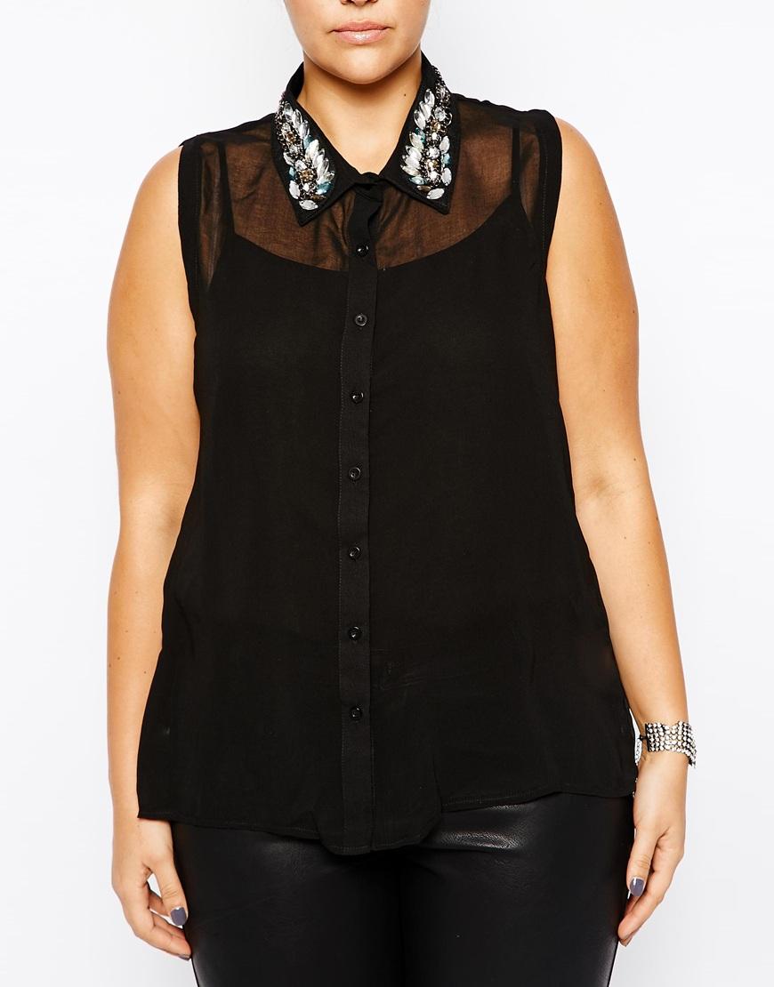 ax paris plus size sleeveless blouse with embellished