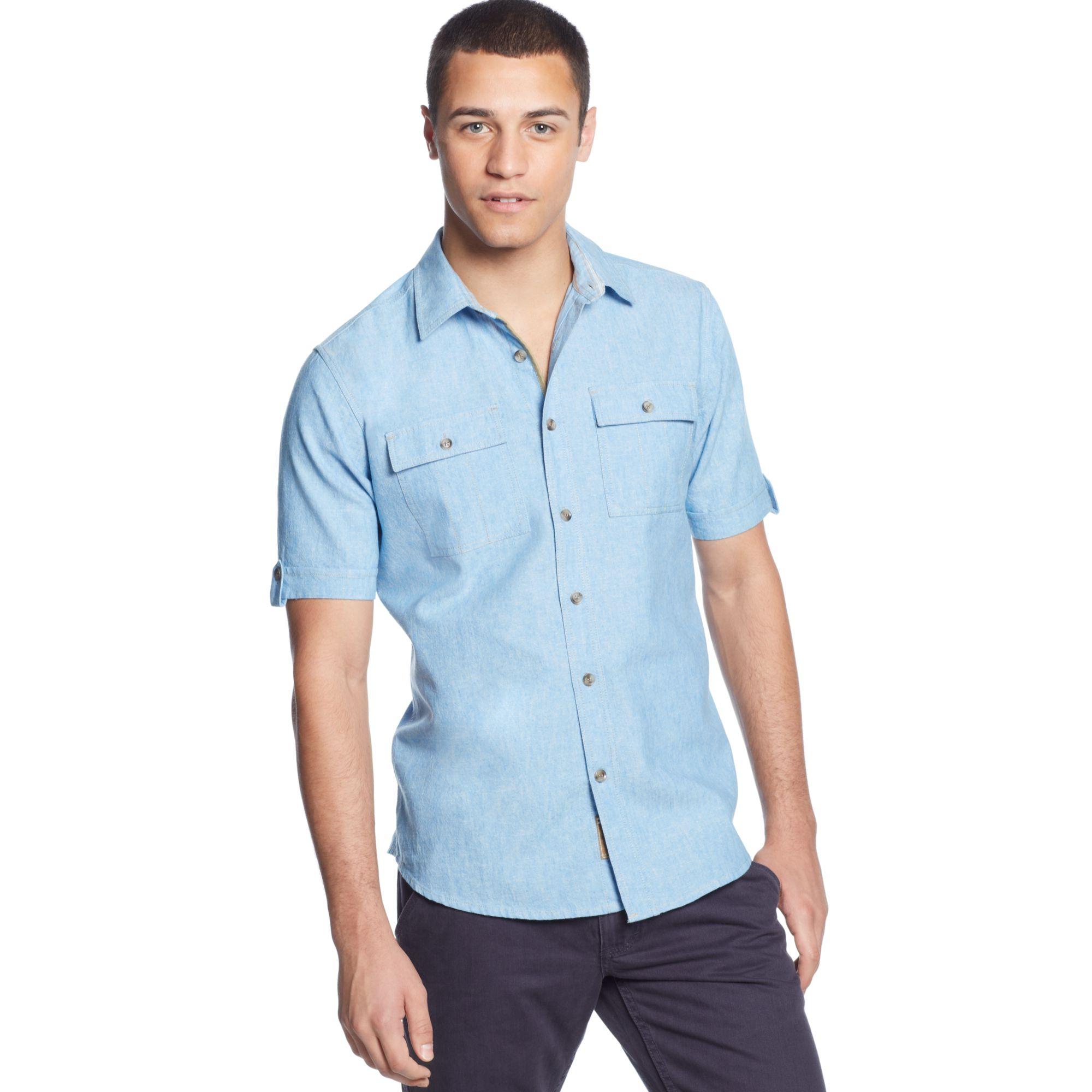 Sean John Shortsleeve Linenblend Shirt in Blue for Men (Azure Blue)