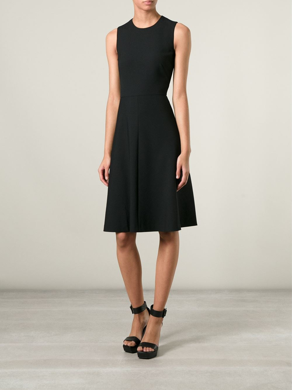 Red valentino Fitted Waist Flared Skirt Sleeveless Dress in Black | Lyst
