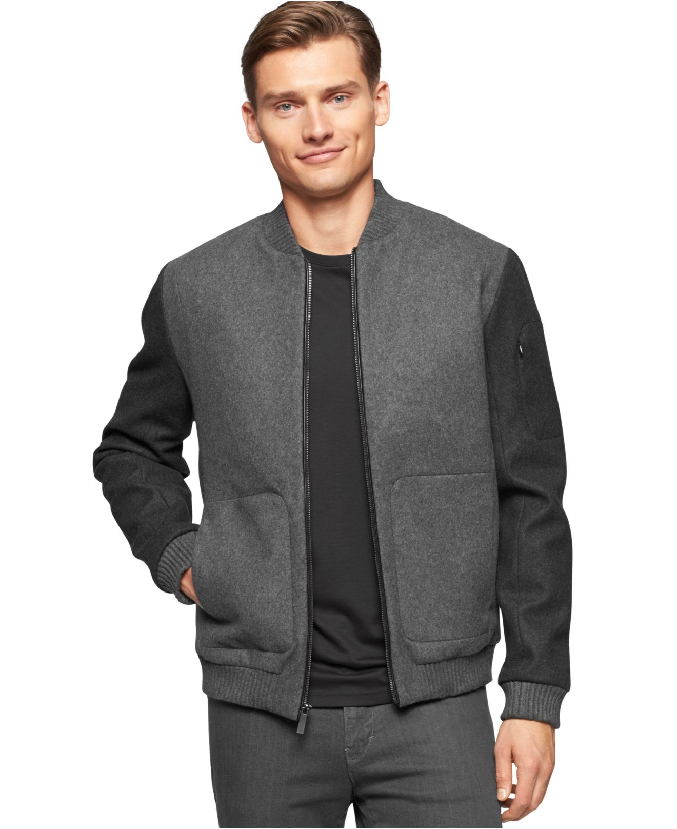 Calvin klein Colorblocked Full-zip Baseball Jacket in Gray for Men ...
