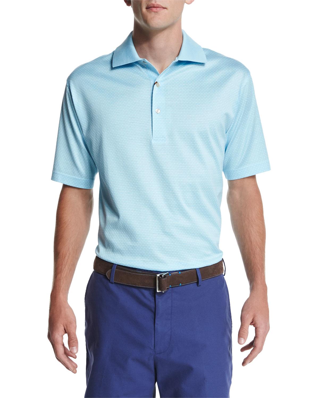 Peter millar jacquard knit short sleeve polo shirt in blue for Light blue short sleeve shirt mens