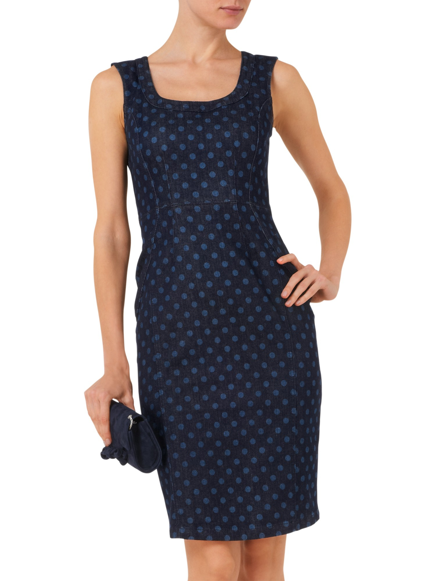 a503d38387 Phase Eight Cilla Denim Spotted Dress in Blue - Lyst