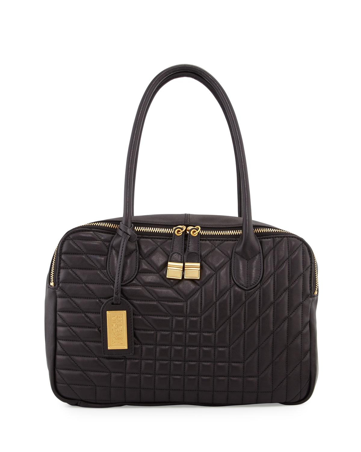 Lyst - Badgley Mischka Coralie Quilted Leather Tote Bag in Black 4b5ba6520b9e6