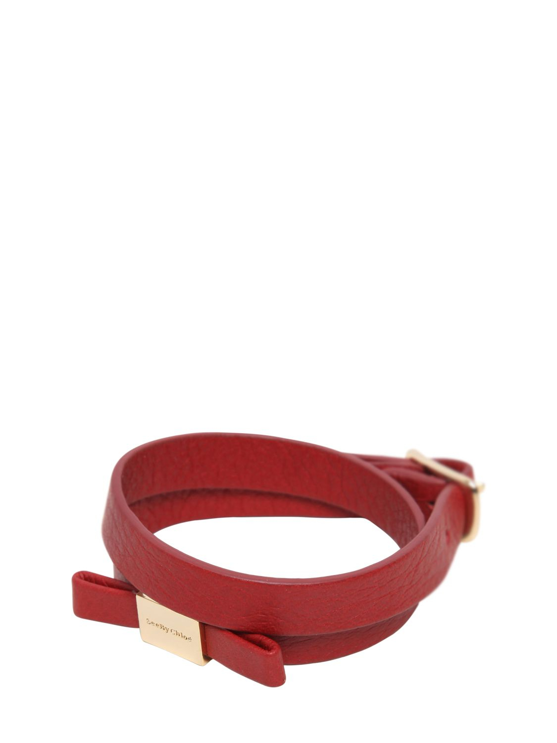 See By Chlo 233 Bow Wrap Around Leather Bracelet In Burnt Red