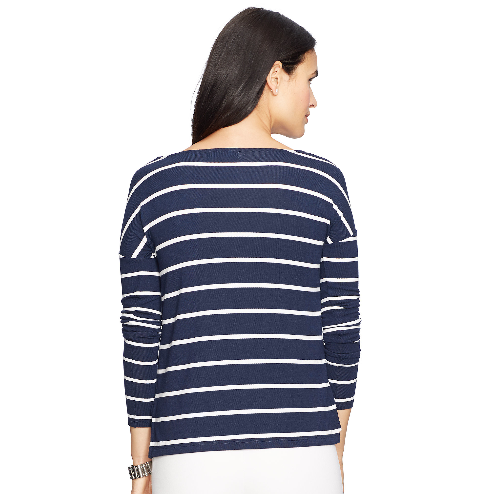 Pink Pony Striped Ballet Neck Tee In Blue Lyst