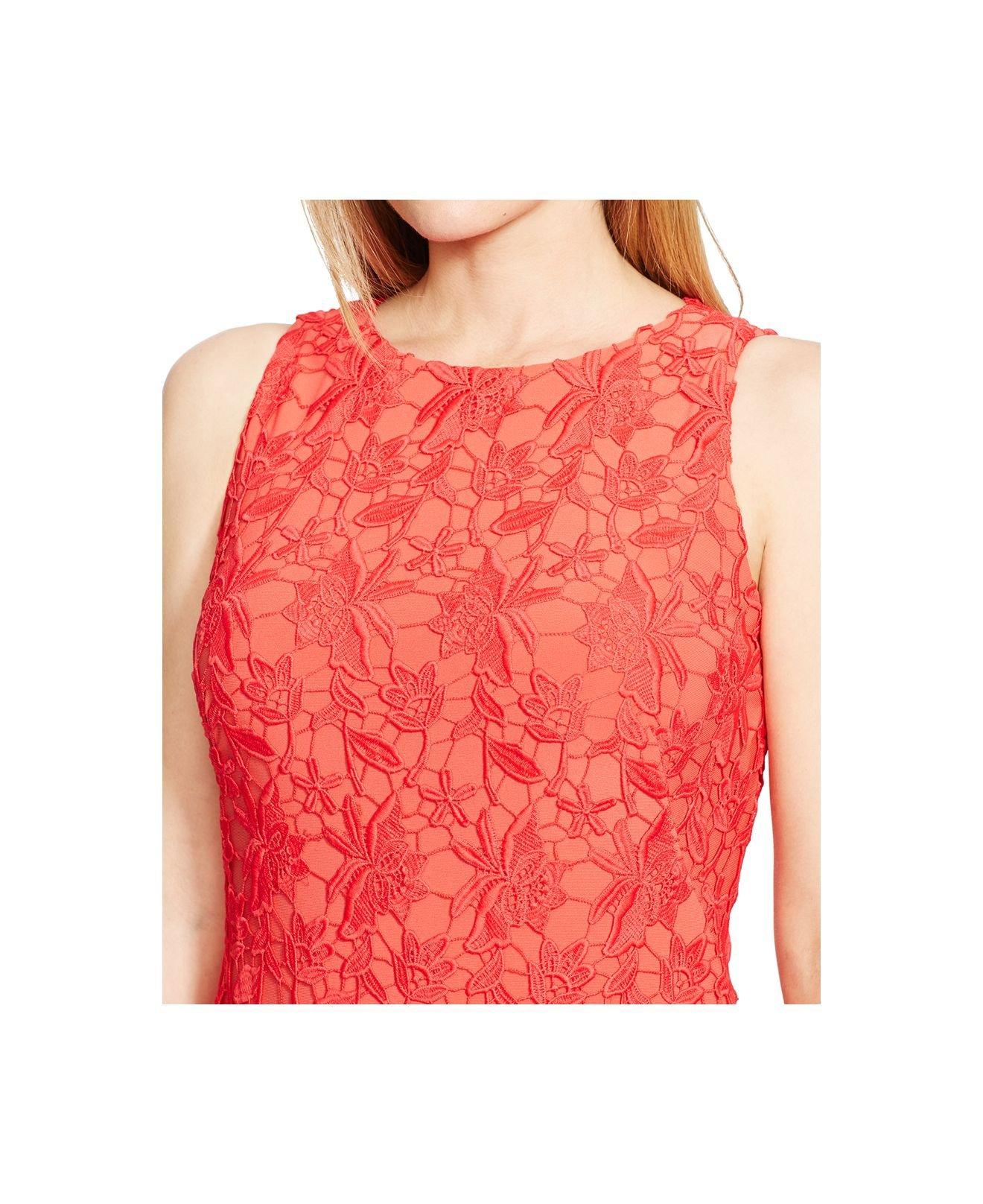 Lyst Lauren By Ralph Lauren Plus Size Sleeveless Lace Dress In Red