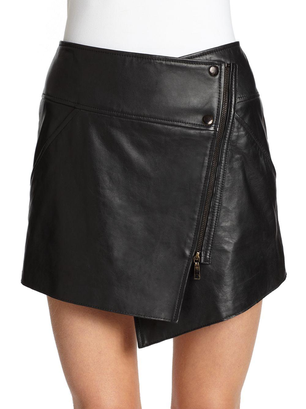 zoe bowery leather asymmetrical wrap skirt in black