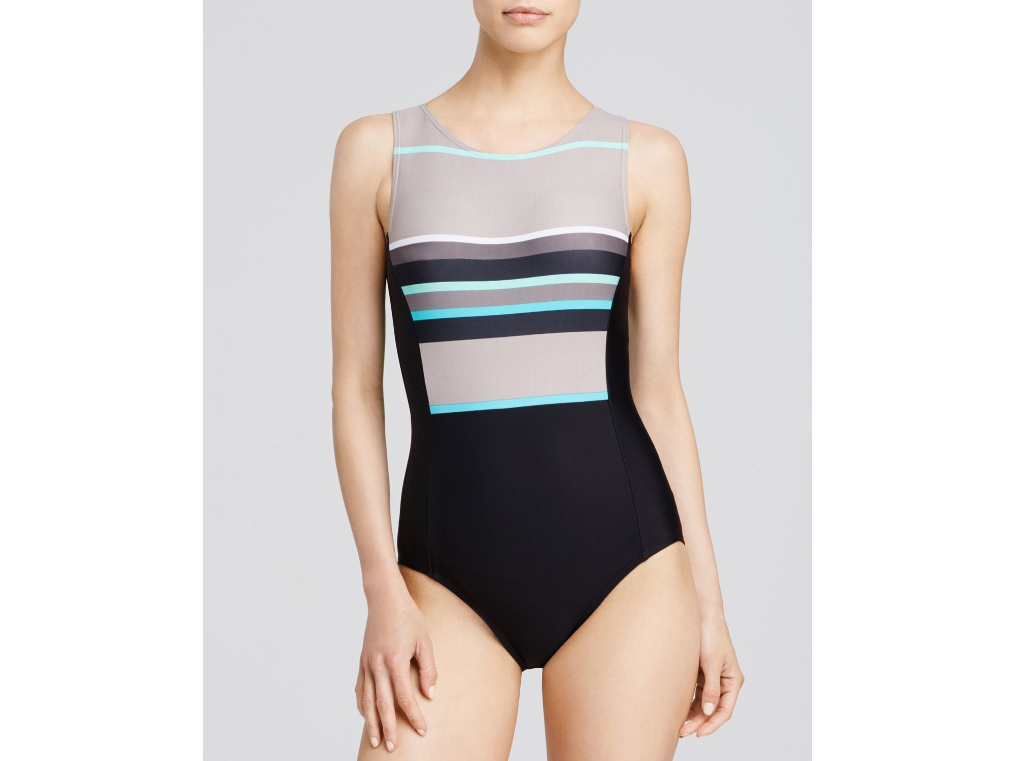 66ffeafb5f Lyst - DKNY Cruise High Neck One Piece Swimsuit in Black