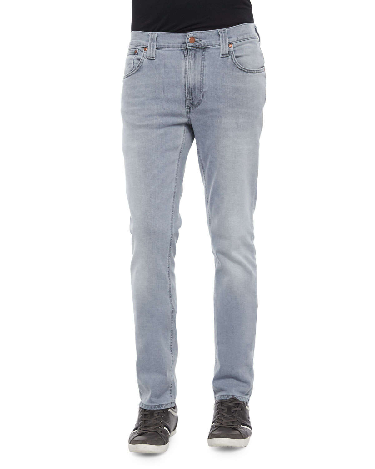 Nudie jeans Thin Finn Pale Lead Washed Denim Jeans in Gray for Men ...