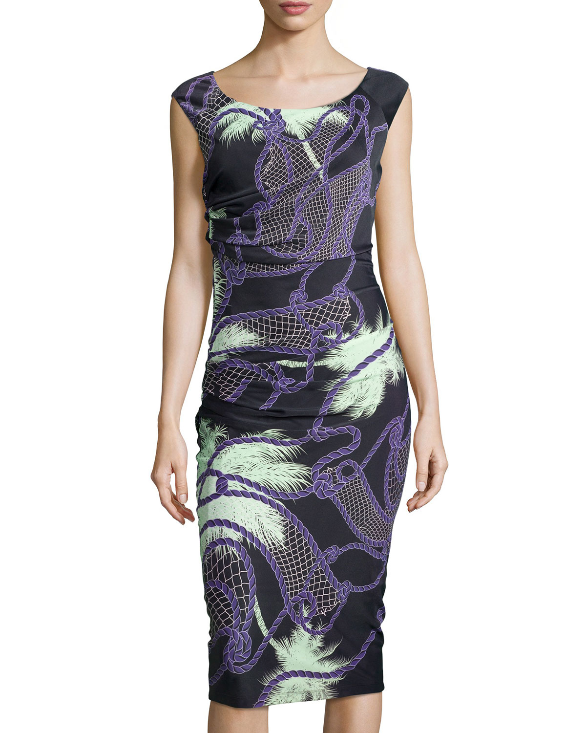 bd3b127b6062 Lyst - Versace Tropical-print Ruched Jersey Dress in Black