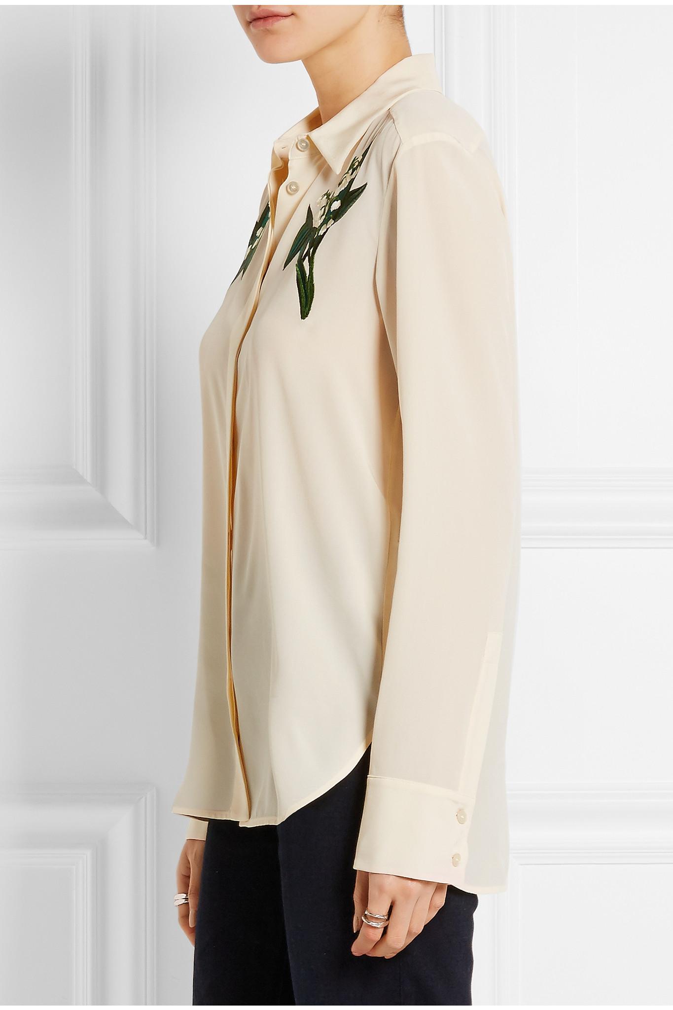 66cab15270 Stella McCartney - Embroidered Silk Crepe De Chine Shirt - Ecru in ...