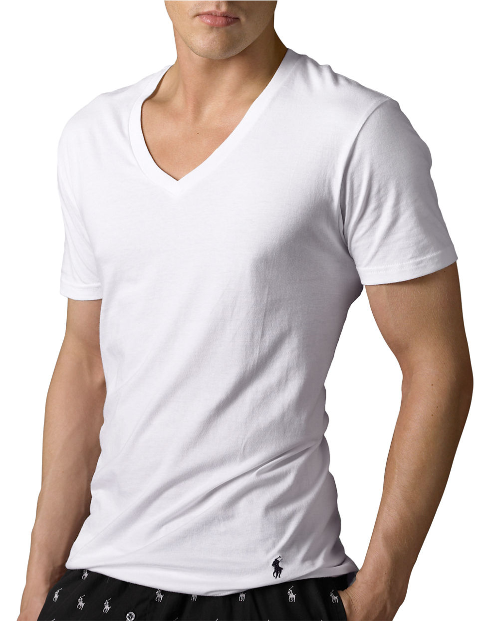 Polo ralph lauren big and tall classic cotton v neck t for Tall v neck t shirts
