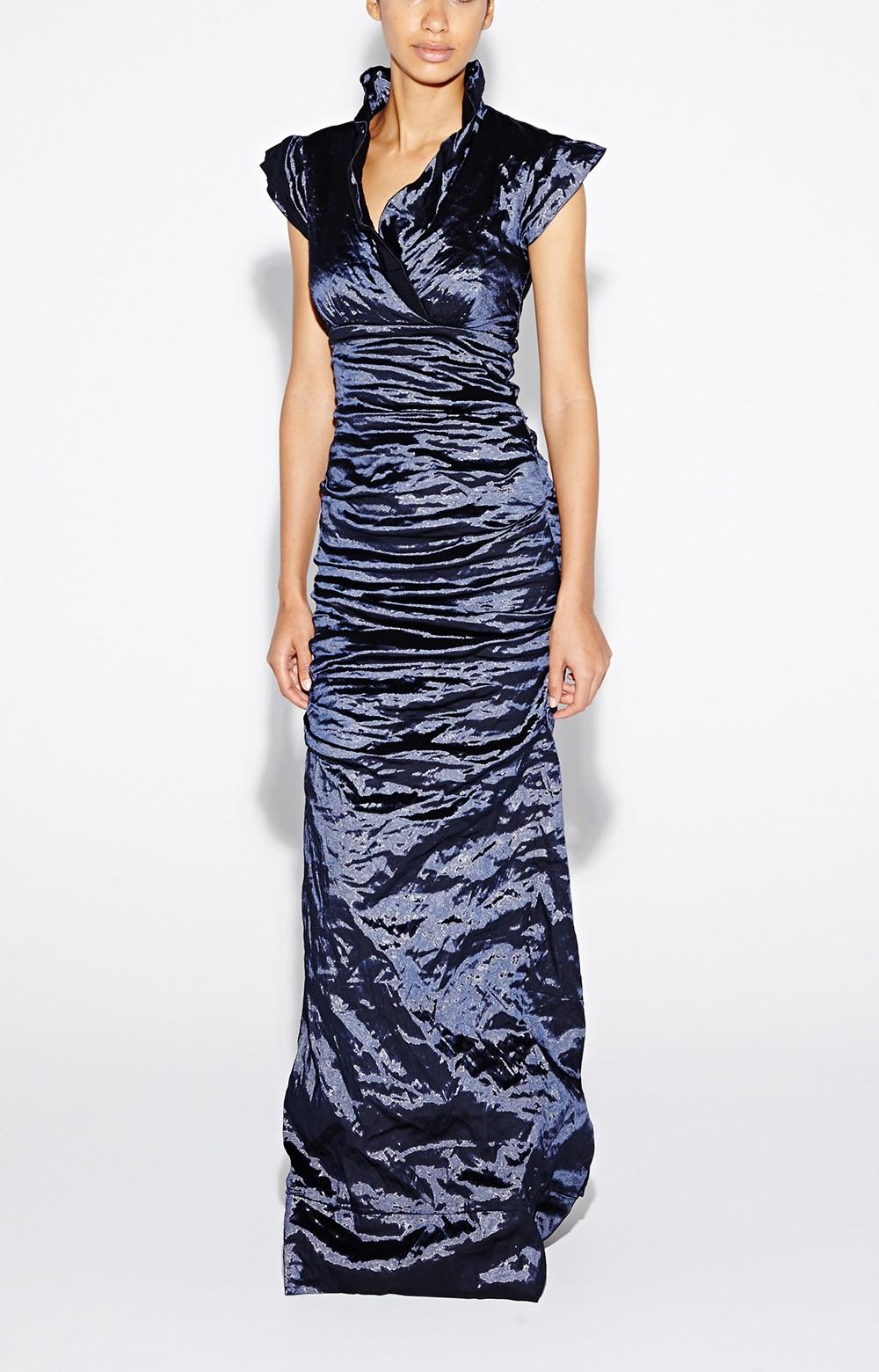 Lyst - Nicole Miller Astor Techno Metal Gown in Blue 596593f04