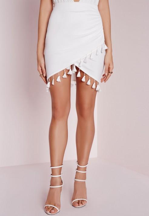 Missguided Tassel Trim Wrap Mini Skirt White in White | Lyst