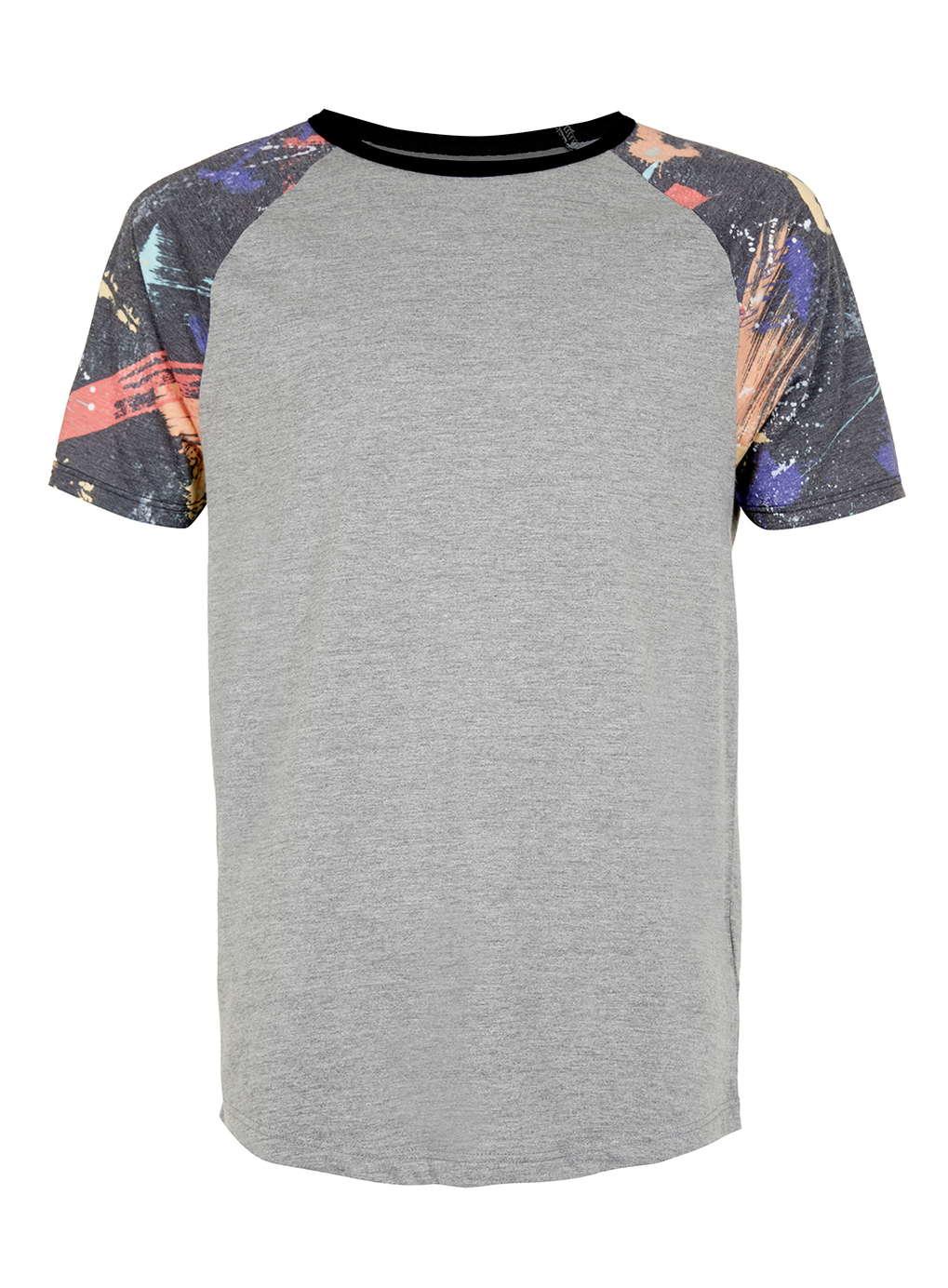 Topman grey marl galaxy print t shirt in gray for men mid for Grey marl t shirt