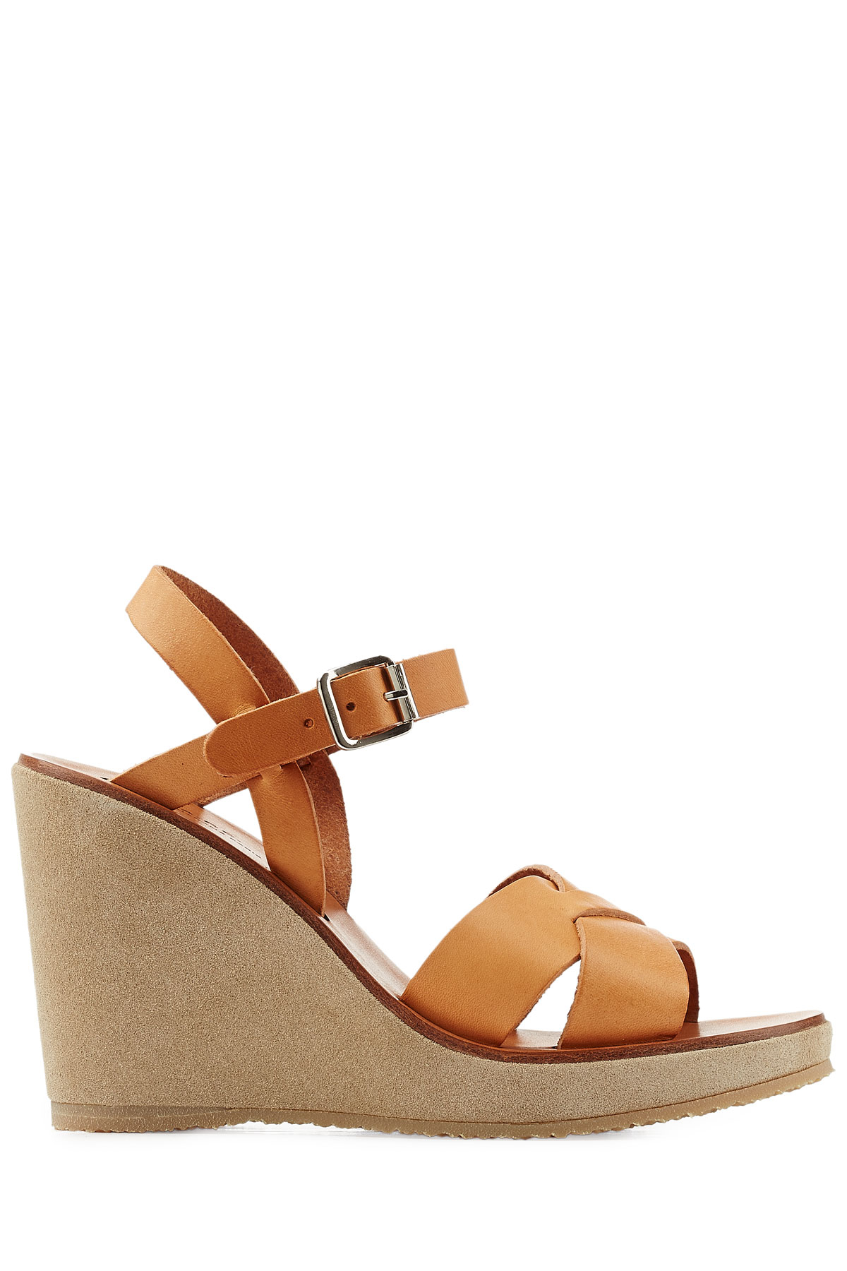 A.p.c. Leather Sandals With Suede Wedge