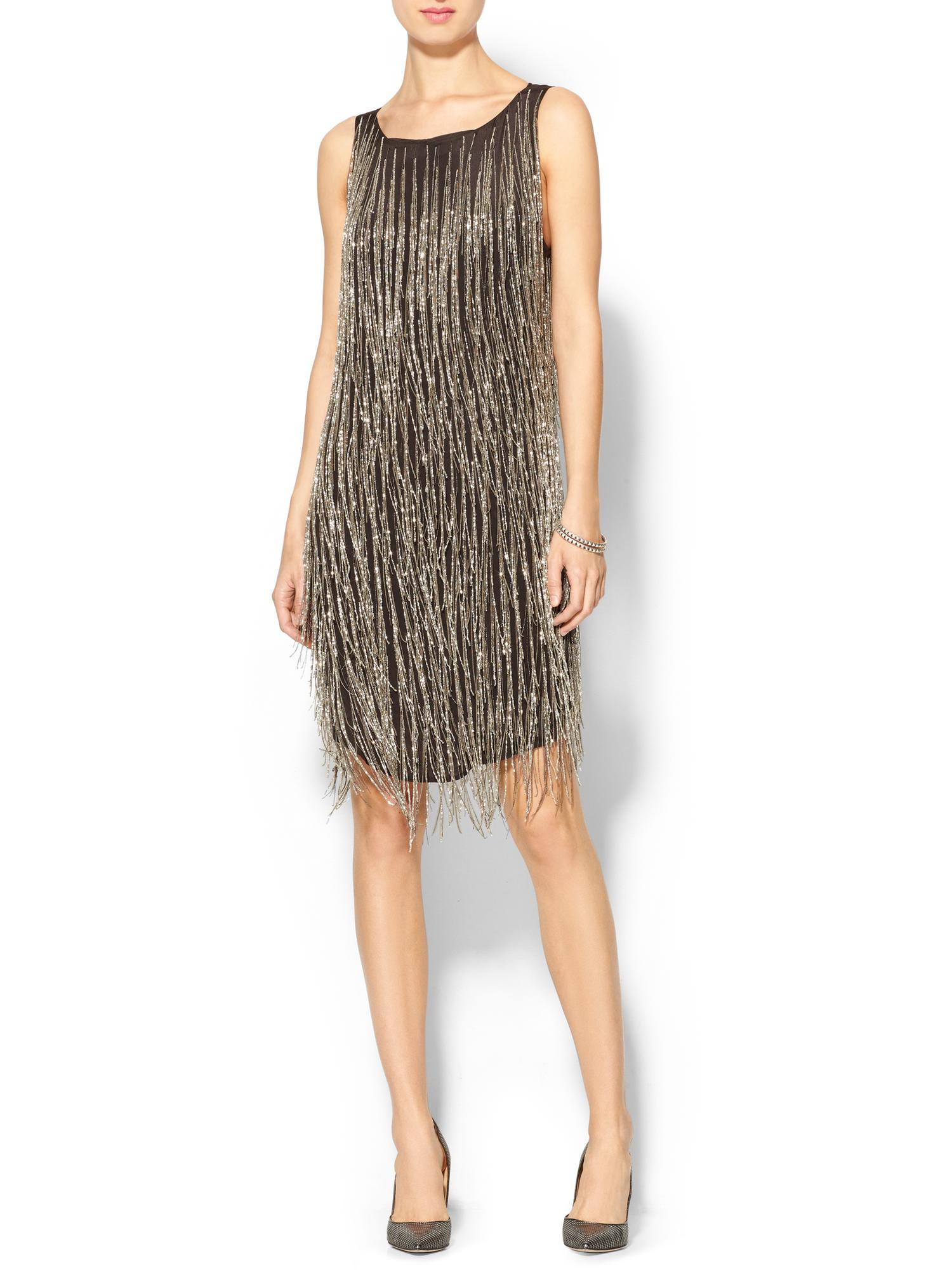 Haute hippie allover chain and bugle fringe dress in gold for To have and to haute dress