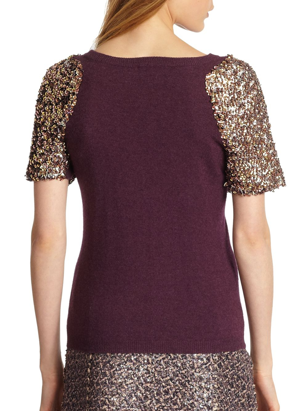 Tory burch Sequin-Sleeved Sweater in Purple | Lyst