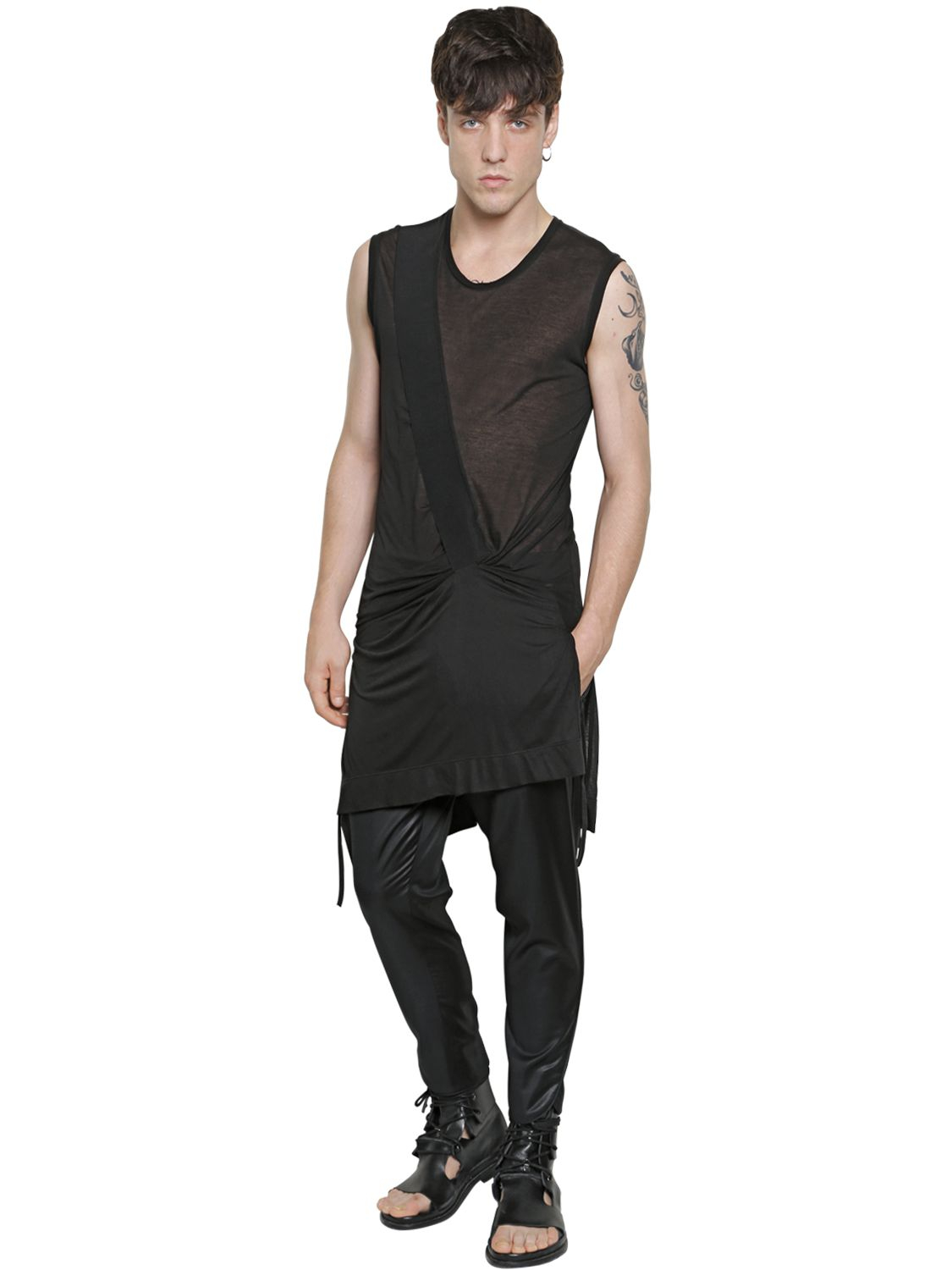 Tom Rebl Sleeveless Extra Long Cotton T-shirt in Black for Men - Lyst 5768a939329