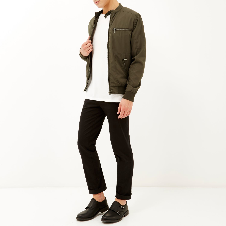River Island Synthetic Khaki Green Popper Collar Racer Jacket for Men