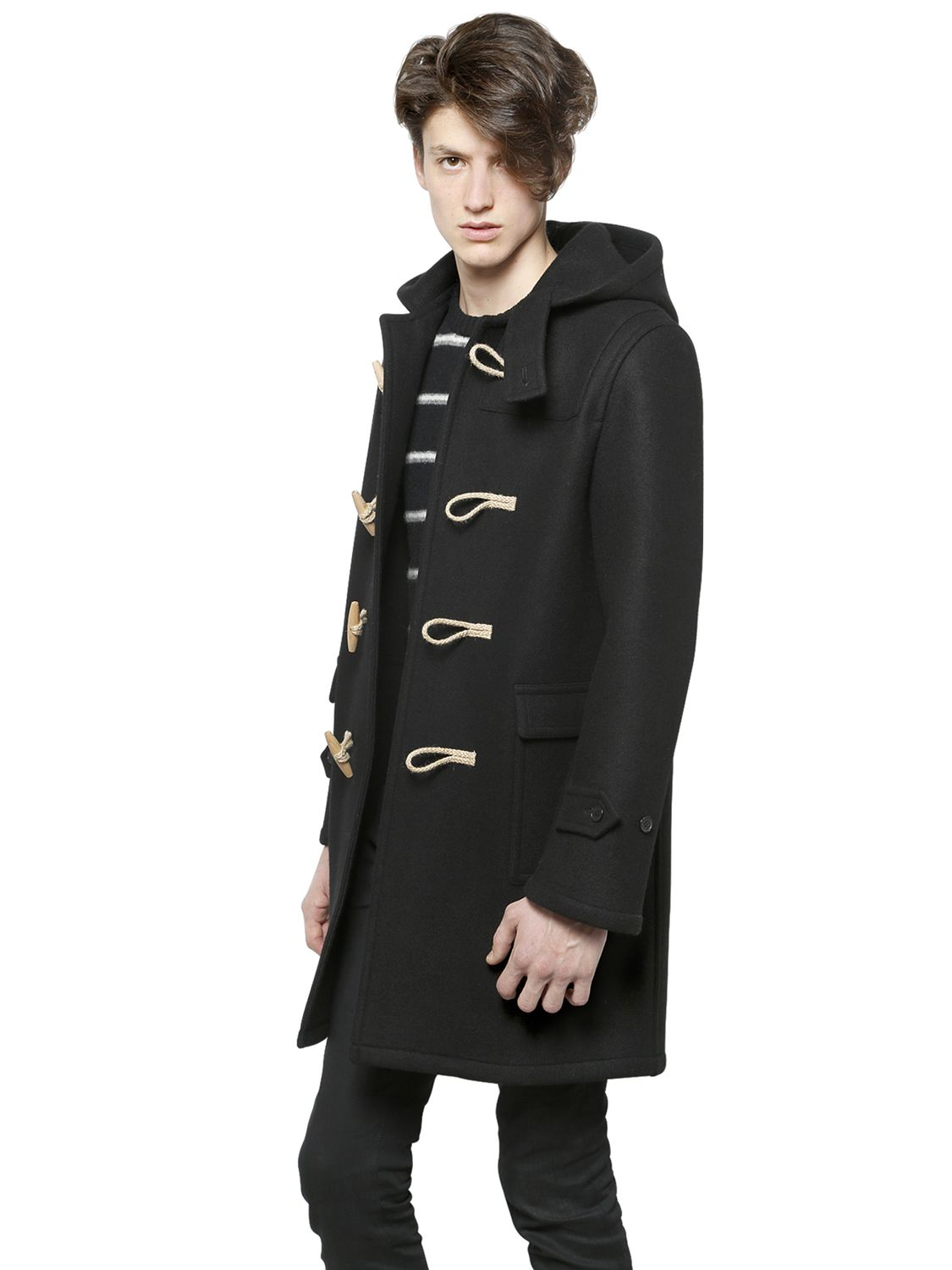 Saint laurent Hooded Wool Duffle Coat in Black for Men | Lyst
